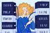 Illustration of female student with cable in her hand, blocks of Greek/Latin root words on her right, blocks of English science related words on here left; the cables link the Greek/Latin origins to the English words