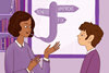 An image showing a teacher giving feedback to a pupil; the words Fix, Improve and Benefit can be seen as a speech bubble