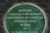 A plaque showing where Bedford college was founded