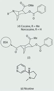 Structures of: Cocaine (4), Norcocaine (5), Nicotine (6)