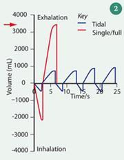 Figure 2 - Breath volume versus time trace, showing the difference between tidal breathing and a single expired breath