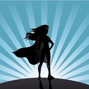Female superhero in sillhouette