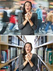 A sneeze in a busy street and a sneeze in a library