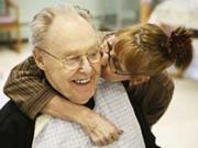 A woman kissing an old man - Methylene blue offers hope to Alzheimer's disease patients