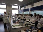 Students watching a food-themed practical