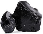 Obsidian, a glass formed in volcanoes, looks quite a bit like the nuclear