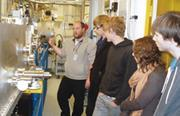 Mark Basham shows pupils from Hartismere High School in Eye part