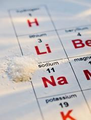 Pinch of salt next to the chemical symbol for sodium on the periodic table; whole table not shown
