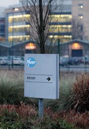 A Pfizer exit sign