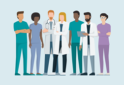 An illustration showing a diverse group of seven doctors, all wearing different outfits, one with a stethoscope, one with a beard and clipboard, one with glasses