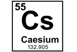 Caesium as it appears on the periodic table