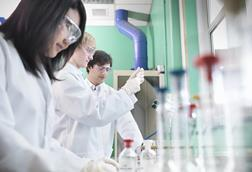 A photo showing students working on a Chemistry Practical