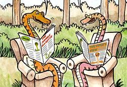 A cartoon showing two snakes chatting about snakebite research while each holding a newspaper
