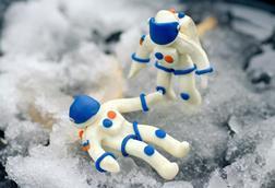 Small plasticine astronauts