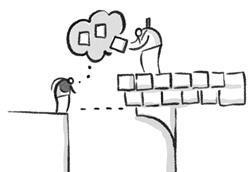 Sketch, bridging a gap using building blocks