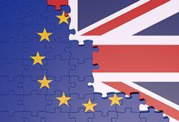 Jigsaw puzzle pieces showing half the EU flag merging into half of the Union flag shutterstock 1151373788