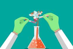 Cartoon of hands with pipette, text tube and conical flask, colourful reaction