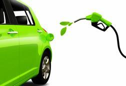 Illustration of a green car being refueled with leaves to signify a carbon-neutral fuel