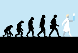Illustration showing the evolution of man into a scientist
