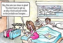 Holiday sun cream cartoon