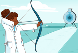 An image showing a female student dressed in a lab coat, holding a bow and aiming her arrow at the centre of a target shaped like a chemical round bottom flask