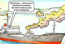 Cartoon- as if the toxic gas cloud were the result of boiling socks