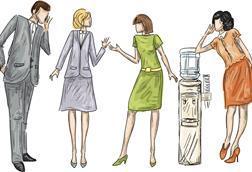 Stylised sketch of four people around a watercooleer