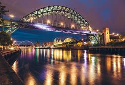 The Tyne Bridge over the river Tyne in Newcastle, Gateshead, at night