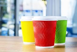 Red, green and yellow cups