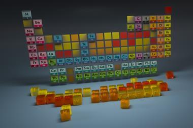 An image showing the periodic table elements that are becoming increasingly scarce