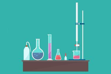 Vector diagram showing titration equipment on a desk