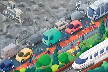 An illustration which on the top half shows a polluted deforested area and a polluted road, and on the bottom half, a clean road with electric cars, green spaces and people cycling