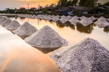 Small heaps of salt in a wet field