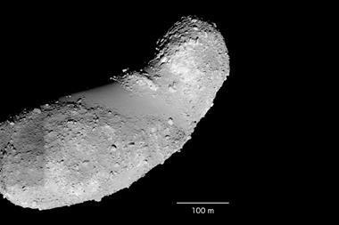 An image showing asteroid Itokawa
