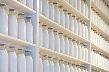 An array of milk bottles on shelves