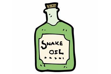 Cartoon image of snake oil bottle