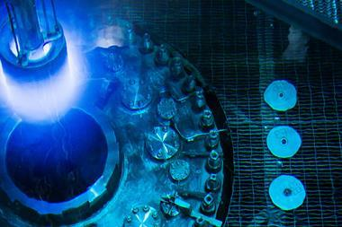 Submerged nuclear reactor with blue glow