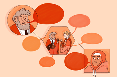 A graphic image consisting of a sequence of circles people with speech bubbles: in the first circle a teacher is thinking aloud; in the second, the teacher and pupils are in discussion; in the last, a pupil doing it alone