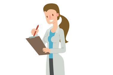 Cartoon scientist, female, long hair, clip board