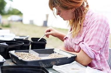 Young, female archaeologist sifting through soil