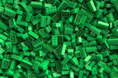 Large pile of green lego bricks