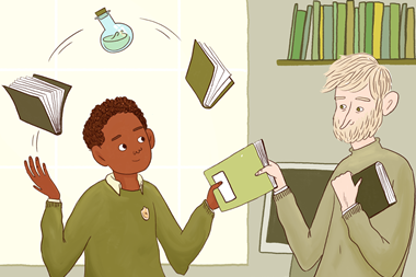 Illustration of male teacher handing an exercise book to a male student; the student is also juggling with two books and a chemical flask that his teacher has previously given him