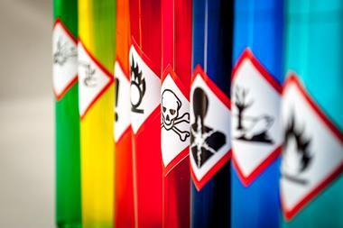 A picture of hazards pictograms on brightly coloured tubes
