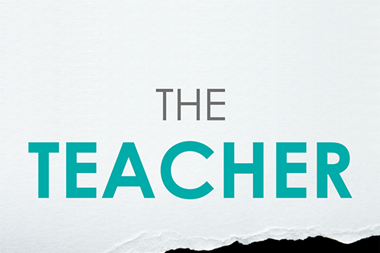 Front cover of The Teacher Gap, grey cover, cyan lettering, and image of black tear