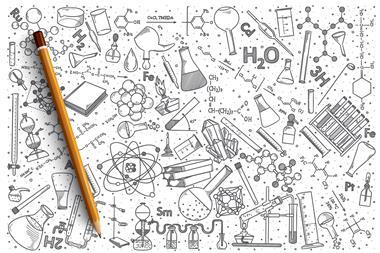 Chemistry equipment and formulae sketched