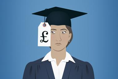 An illustration showing a female graduate terrified while looking at the price tag attached to her mortarboard