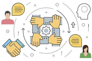 Graphic of people collaborating