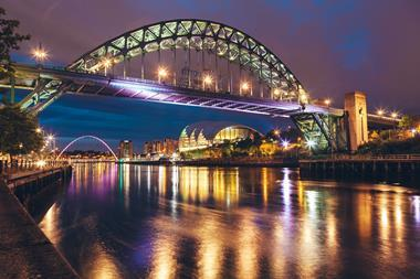 The Tyne Bridge over the river Tyne in Newcastle, Gateshead, at night