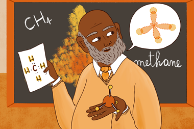 An image showing a male teacher holding a piece of paper with the structure of methane on it, a methane ball and stick molecular model, and thinking about an alternative model view; the blackboard behind shows the chemical formula of methane