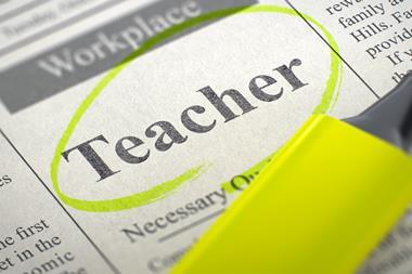 """An image showing a newspaper page that shows the word """"Teacher"""" in the context of a job advert highlighted"""